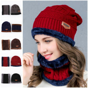 ec46b739198 Fashion HOT Beanie Hat Scarf Set Knit Hats Warm Thick Winter Cap For ...