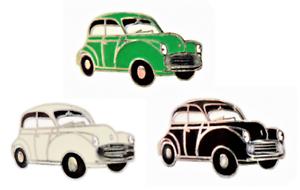 Black Green /& Pale Ivory Morris Minor 1000 Pin Badge Set