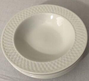 Oneida-Wicker-White-basket-weave-Stoneware-soup-pasta-bowl-9-034-4-pcs