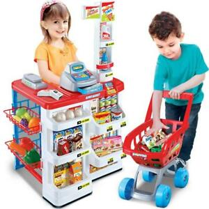 KIDS-SUPERMARKET-SHOP-GROCERY-PRETEND-TOY-TROLLEY-PLAYSET-LIGHT-SOUND-PLAY-GIFT