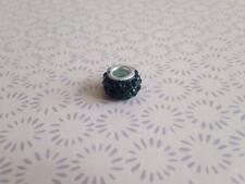 925 Silver Dark Green Crystal Shamballa Charm Fits European Bead Bracelet