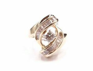 RI1-Lady-039-s-14K-Yellow-Gold-Diamond-Ring-Size-3-5-5-5-Grams-39-TCW