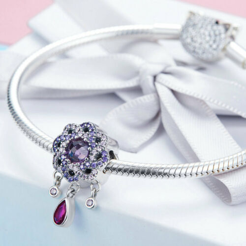 Coloful 925 Sterling Silver Intertwined Flower Charm Pendant Fit Women Girls
