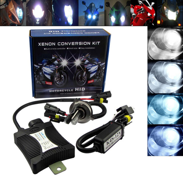 55W Motorcycle Bike HID H4 H/L Hi/Low Beam Bi-xenon Conversion Kit ballast 6000K