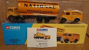 Corgi-31002-NATIONAL-BENZOLE-Foden-FG-Tanker-amp-Morris-J-Van-Ltd-Edition-No-1