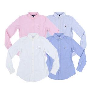 Ralph-Lauren-Womens-Oxford-Long-Sleeve-Slim-Fit-Buttondown-Shirt-Xs-S-M-L-Xl-Nwt
