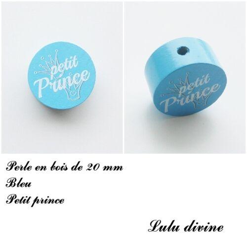 Couronne : Bleu Perle plate Perle en bois de 20 mm Petit prince
