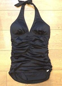 ceb2e88d00644 Image is loading Spanx-2654-TANKINI-RUCHED-HALTER-SWIMSUIT-TOP-BLACK-