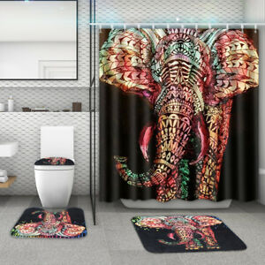 4Pcs Elephant Non-Slip Rug Toilet Lid Seat Cover Bath Mat Shower Curtain
