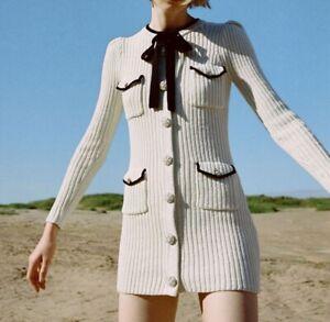 AUTH Self-Portrait Ivory Lurex Knit Mini Dress Cream XS, S, M, L