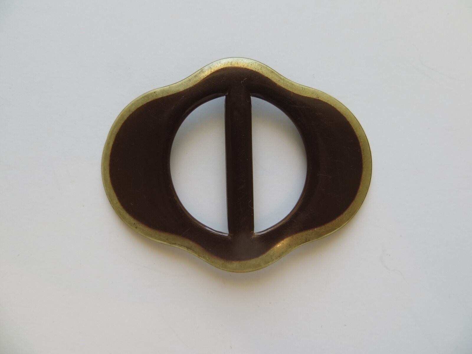 1920s Art Deco Celluloid Handpainted Brown Gold Belt Buckle-58mm x 44mm