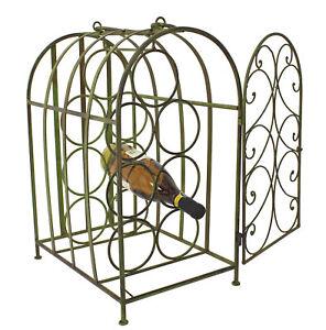 Wrought Iron Green Metal Decorative Wine Rack Cage With Door Ebay