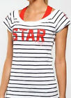 100% Cotton Lorna Jane Star Player Yoga Sport top Tee strip T-shirts XS S M L