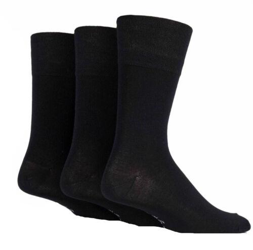 New 3 Pair Pack Men/'s Gentle Grip Bamboo Blend Non Elastic Office Socks UK 6-11