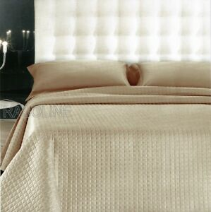 Image Is Loading Quilted Bedspread Double Quilt Satin Cotton Beige