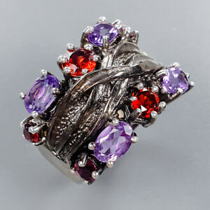 Natural Amethyst Ring Silver 925 Sterling Handmade Size 8 /R132375