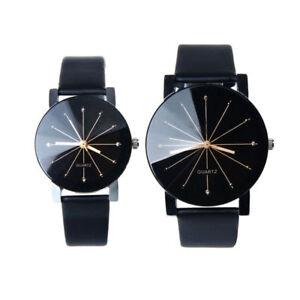 Fashion Men Women Couple Watch PU Leather Quartz Dial Wrist Watch Black Hot Sell