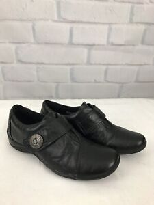 Clarks-Artisan-Women-s-Sz-6-5-M-Black-Slip-On-Loafers-Leather-Shoes