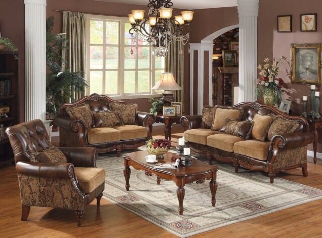 Traditional Style 3pc Formal Living Room Furniture Sofa Set Carved Wood  Frames