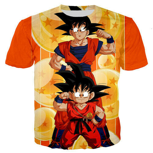 Hot Fashion 3D Print Goku Dragon Ball Girl Boys Kids Child T-Shirts Short Sleeve