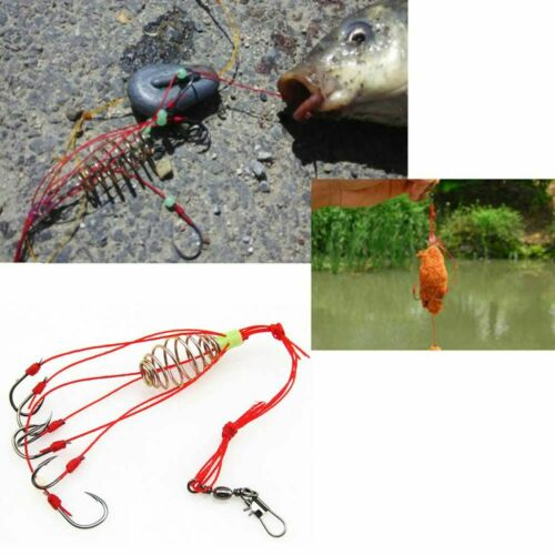 4pcs//lot Explosion Fishing Hook Fishing Lure Bait Trap Feeder Cage Sharp Fishing