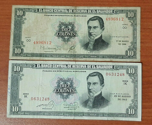 1988 SERIE OO EL SALVADOR NOTES 10 COLONES CONSECUTIVE YEARS 1983 SERIE IK