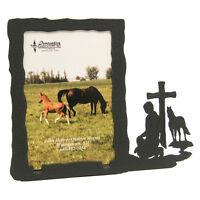 Praying Cowboy Black Metal 3x5 Vertical Picture Frame