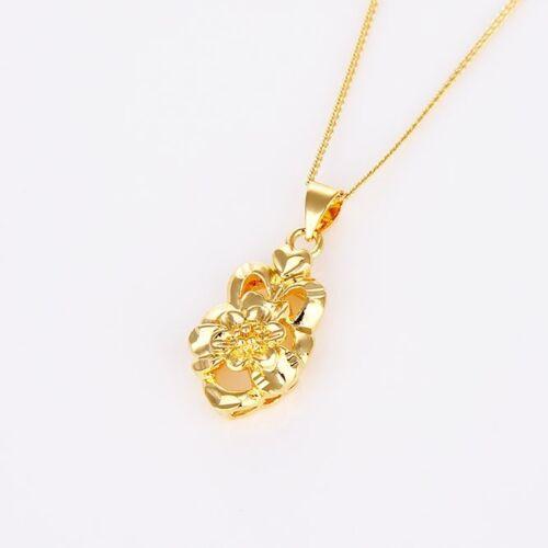 """Femme Fleur Collier Pendentif 18k or jaune REMPLI 18/"""" Link Fashion Cadeau"""