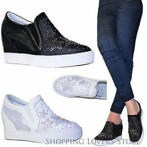 Caricamento dell immagine in corso SCARPE-Donna-Slip-on-Sneakers -Stelle-Strass-Rialzo- c3ad8da897f