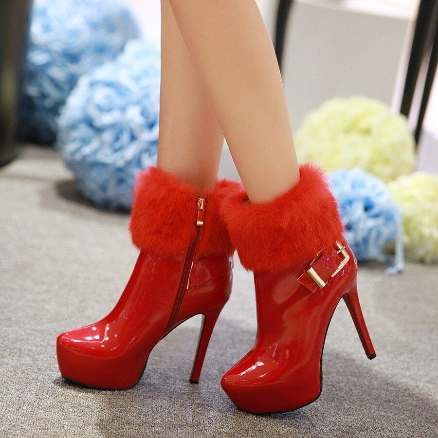 Elissara femmes Stiletto Zip High Heel Platform Ankle bottes chaussures AU Taille 2-9
