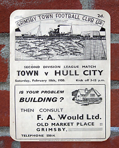 Vintage Tin Sign 1950 Grimsby Town Programme Metal Sign Man Cave