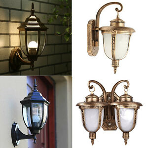 Retro Yard Outdoor Garden Lamp Exterior Lantern Wall Lighting Sconce Aluminum