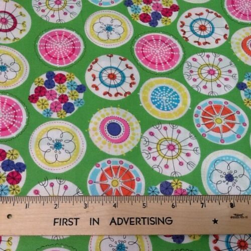 Michael Miller Fabric Lava Bloom Cotton Sewing Flowers Bright Retro floral