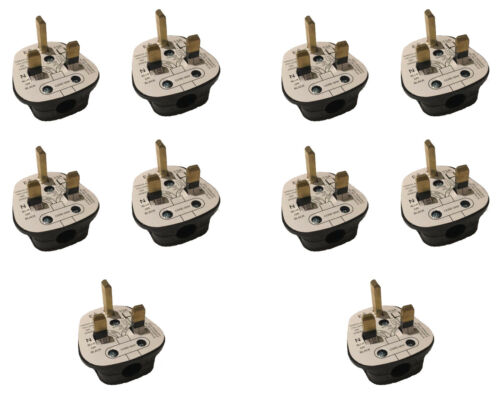 3 AMP UK 3 PIN FUSED BLACK MAINS PLUG 3A PACK SOCKET BULK 1 2 3 5 10 20 240V