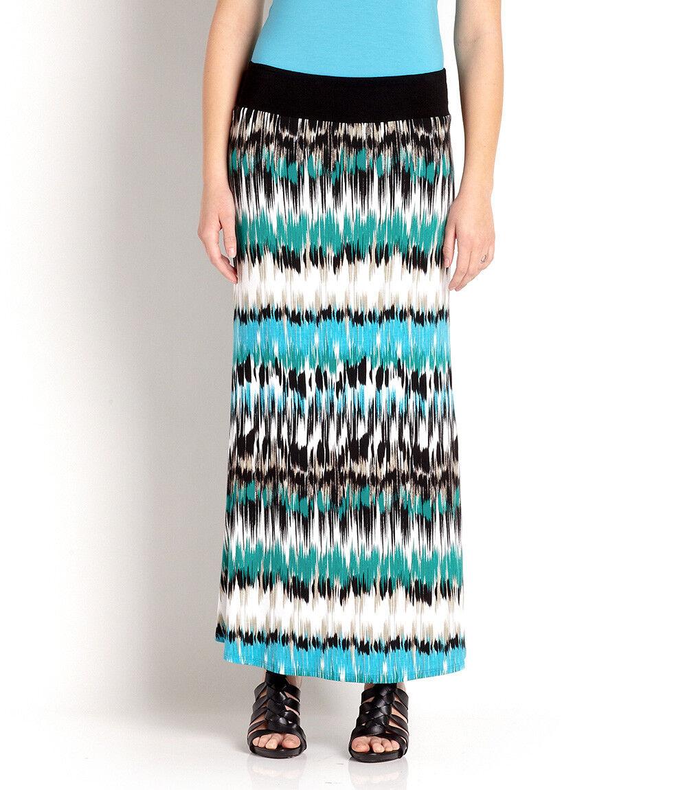 Karen Kane 2L05156 Green-Multi Pacific Stripe Stretch Jersey Maxi Skirt, S