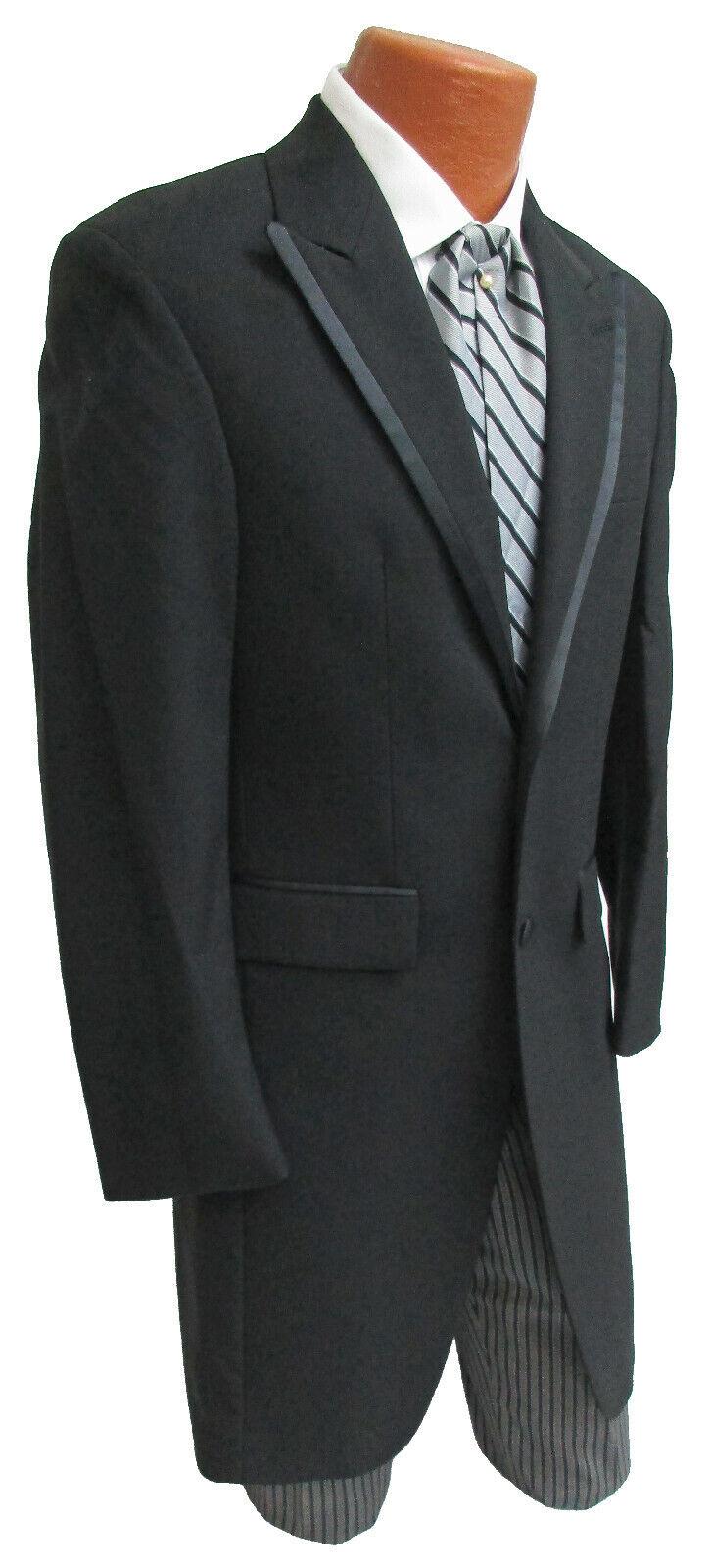 Men's Long Black Frock Morning Coat Wool Tuxedo Western Duster Cutaway Tails 38L