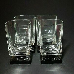 4-Four-VINTAGE-DI-SARONNO-CLEAR-amp-BLACK-Square-Foot-Cocktail-Glasses-No-Text