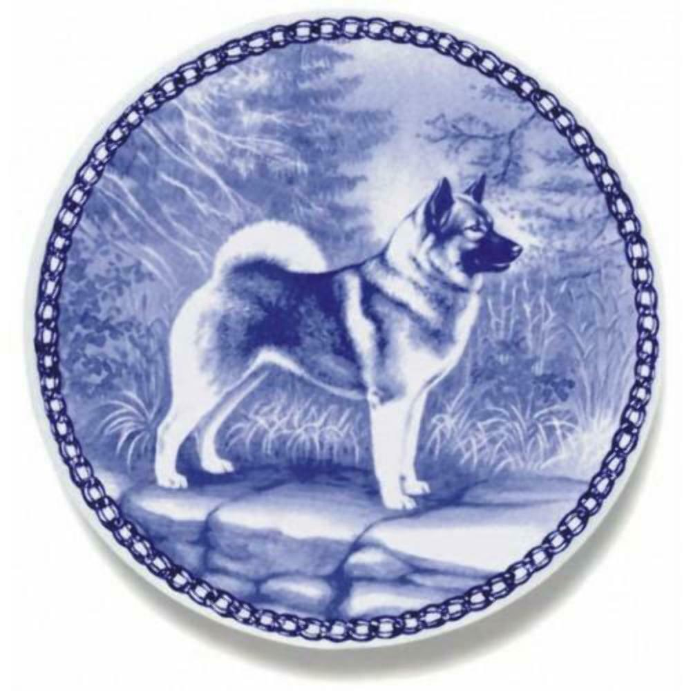 Norwegian Elkhound - Dog Plate made in Denmark from the finest European Porcelai