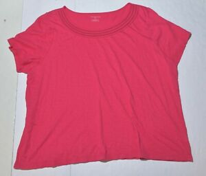Woman-039-s-TALBOTS-Pink-Blouse-Top-Cotton-Blend-Shirt-Short-Sleeve-Plus-Size-3X