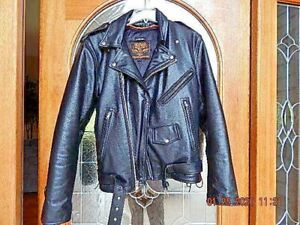 Mens Motorcycle Biker Riding police style Side lace leather jacket Zip out liner