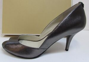 Michael-Kors-Size-9-5-Leather-Metallic-Gray-Heels-New-Womens-Shoes