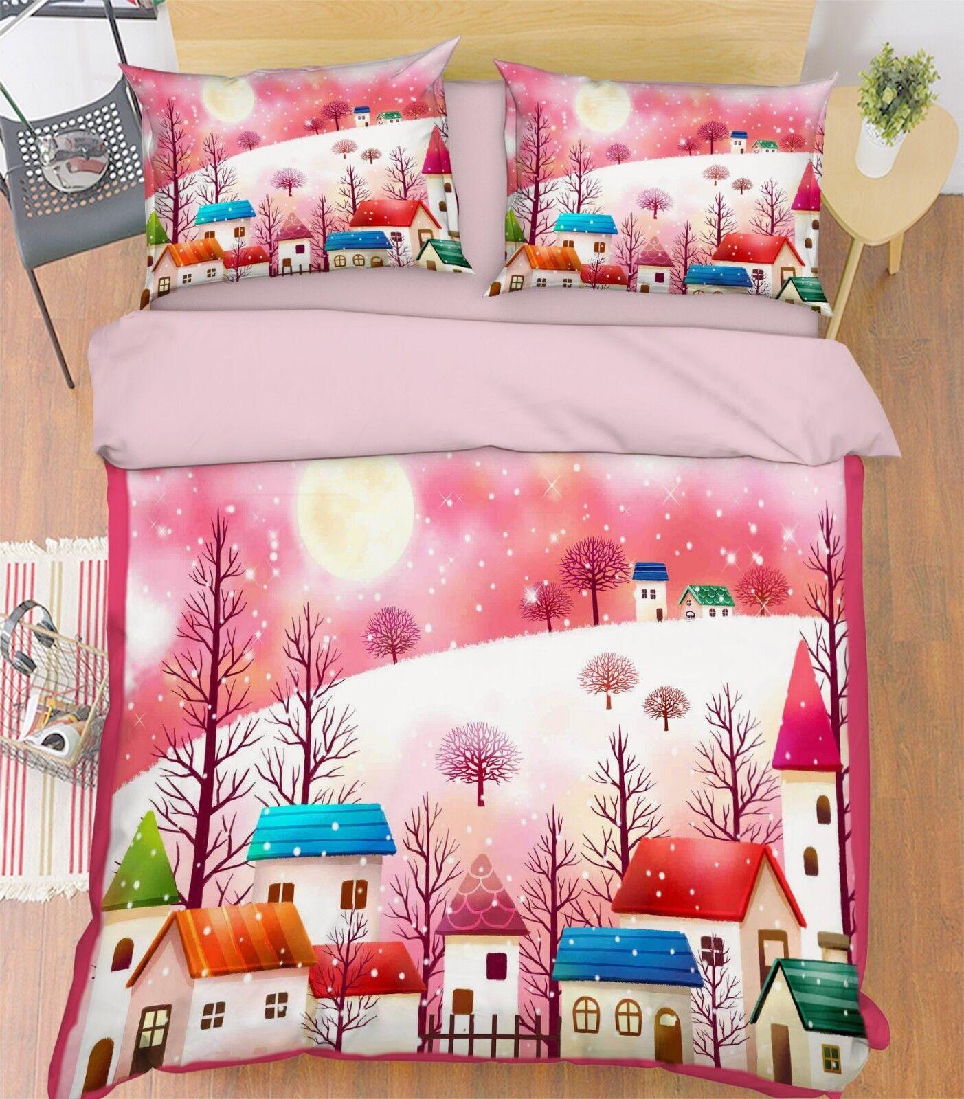 3D Winter Houses 689 Bed Pillowcases Quilt Duvet Cover Set Single King UK Summer