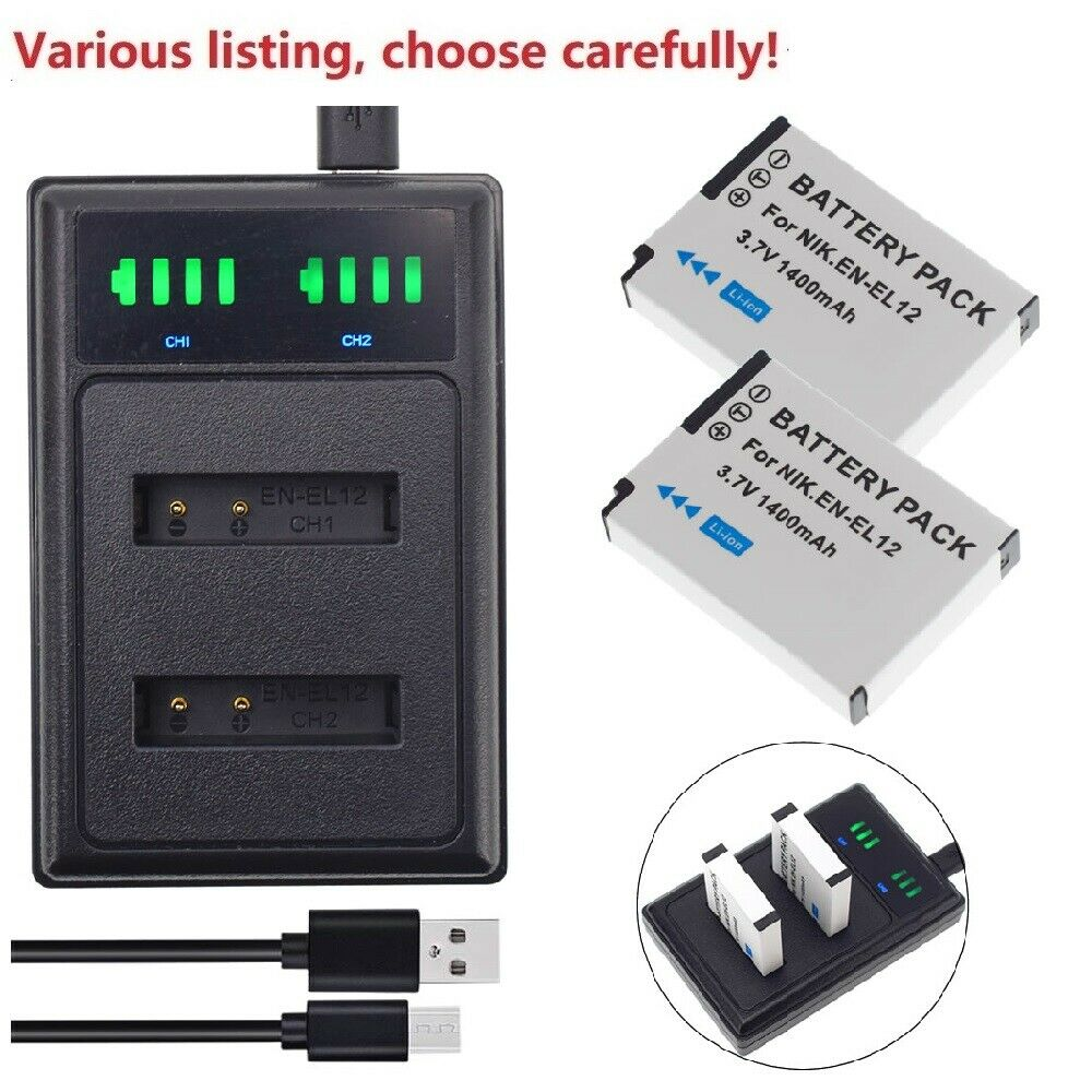 Battery or USB charger for NIKON EN-EL12 Coolpix S1200PJ AW100 S8200 S6200 S6000