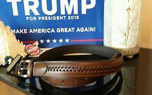 Donald-J-Trump-Size-34-Signature-Collection-Stitch-Genuine-Leather-Brown-Belt
