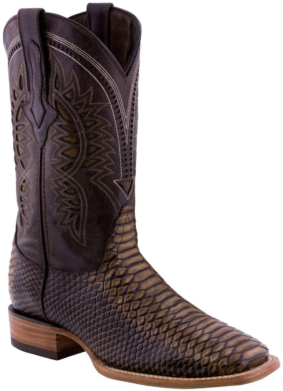 Para hombres Cuero Patrón De Serpiente Rústico Arena Python botas de vaquero Puntera Cuadrada Casual