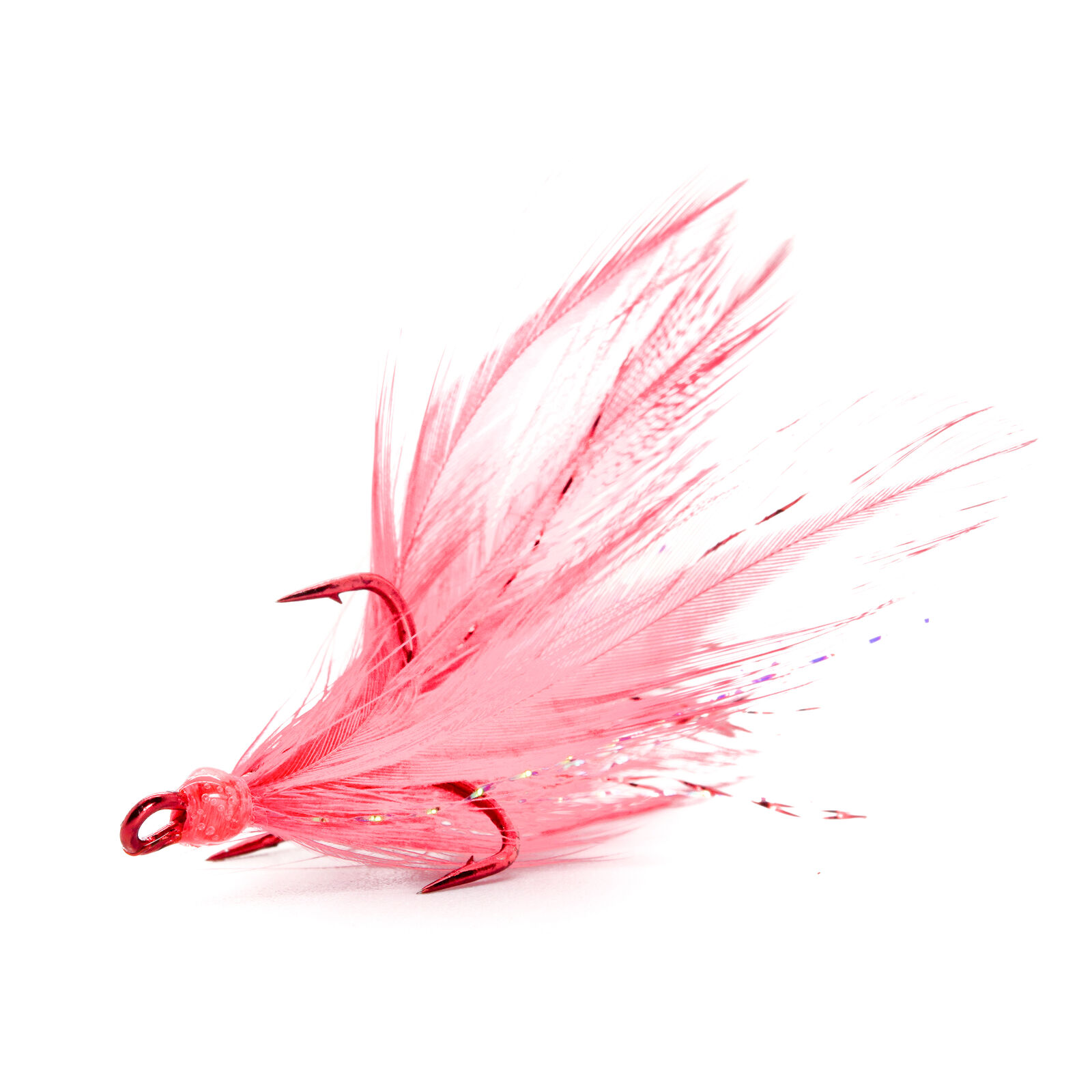 Red Hook//Red and White Feathers Pack of 2 Size 4 Mustad Ultra Point Dressed Round Bend Treble Hook