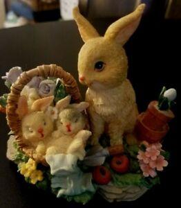 "Resin 4"" Mama Bunny Rabbit & 2 Babies in Basket Figurine; Easter Style 2"