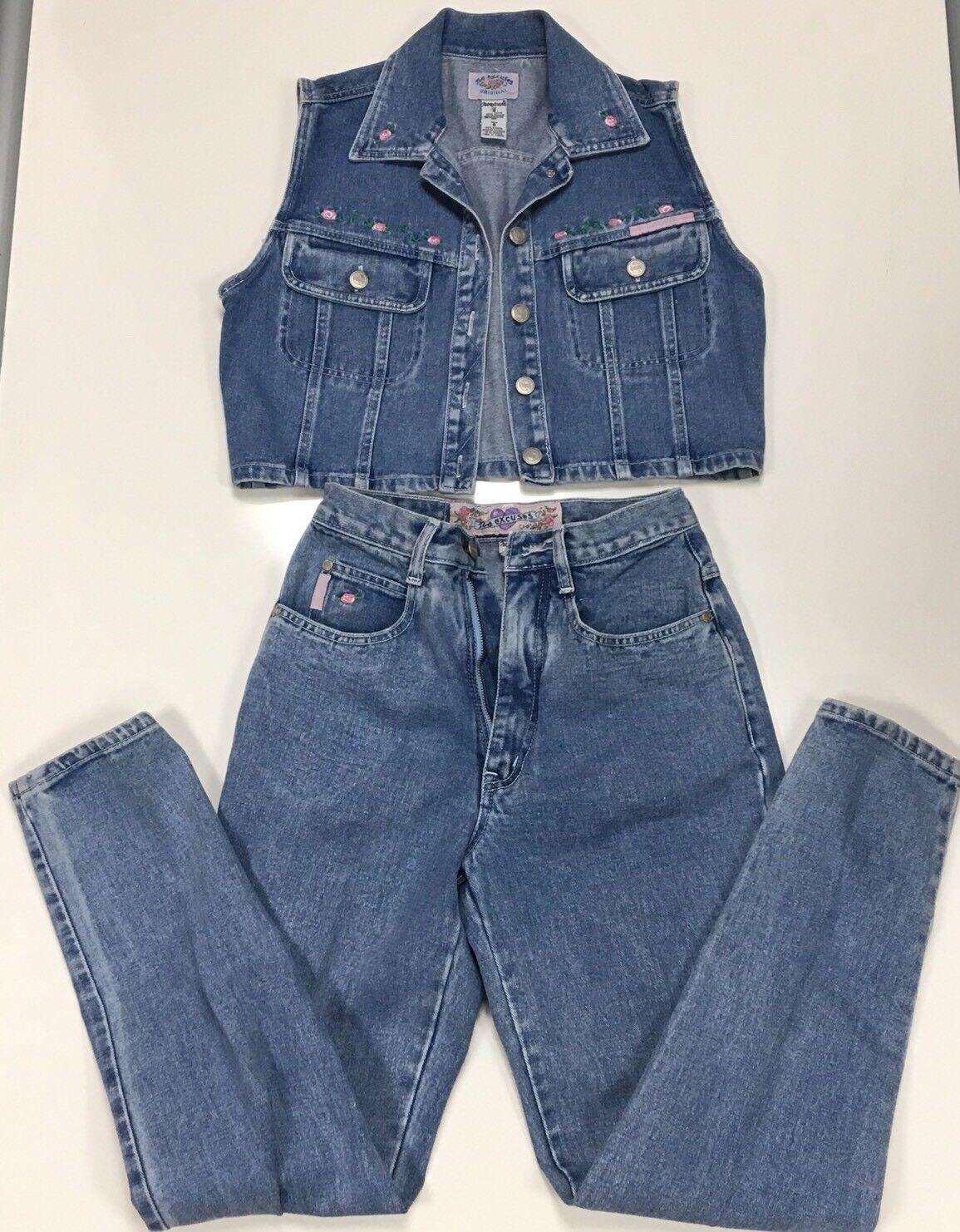 Vintage No Excuses womens Denim vest and jeans vest Sz S, pants sz 7 8