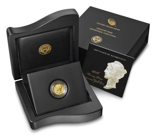 2016 W MERCURY DIME GOLD CENTENNIAL COMMEMORATIVE COIN WITH BOX/COA 16XB