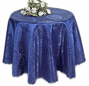 damast tischdecke rund 160 cm blau gro e bl ten tischtuch. Black Bedroom Furniture Sets. Home Design Ideas